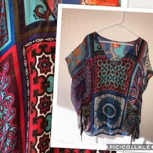 Hale Bob Cabana kimono drawstring tunic silk top M